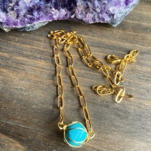AQUAMARINE PAPERCLIP CHAIN GOLD NECKLACE